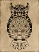 Ornamental hand-drawn owl on vintage background — Stock Vector
