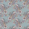Hand-drawn paisley. Floral pattern. Seamless background, vector  — Stockvectorbeeld