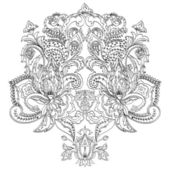 Hand-drawn floral paisley. Monochrome design — Stock Vector