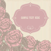 Festive frame with vintage roses, vector illustration — Vector de stock