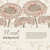 Hand-drawn flowers on vintage background. Vector illustration — Stock Vector