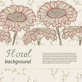 Hand-drawn flowers on vintage background. Vector illustration — Stock vektor