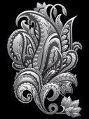 Ornamental hand-drawn paisley on black background — Vettoriale Stock