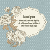 Vintage frame from  roses, with empty space for text message. Ve — Stock Vector