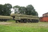 Army truck with rocket — Stock Photo