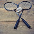 Vintage badminton racquet — Stock Photo