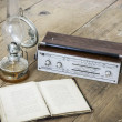 Kerosene lamp and radio and book — Foto de Stock
