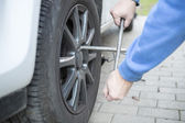 Changing tires of a car — Stock Photo