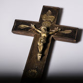 Crucifix with figure of Jesus on white background — Stock Photo