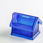 Blue House Money Box on White Background — Foto Stock