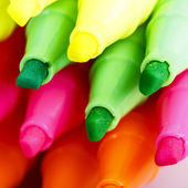 Group of felt tip bright color markers on white background — Stock Photo
