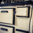 Old white metal oven — Stockfoto