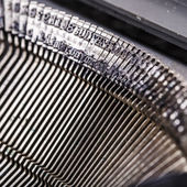 Closeup of old typewriter letters — Foto de Stock