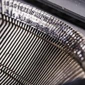 Closeup of old typewriter letters — Stok fotoğraf