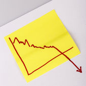Note paper with finance business graph going down - loss — Stock Photo