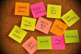Notice board with sticky note pads — Stock Photo
