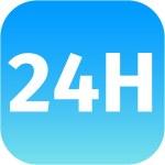 24H blue icon or button — Stock Photo #49031785
