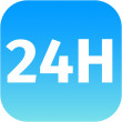 24H blue icon or button  — Stock Photo #49031785