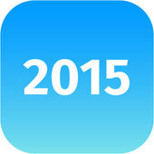 Year 2015 blue icon — Stock Photo