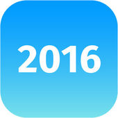 Year 2016 blue icon — Stock Photo