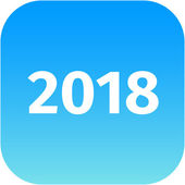 Year 2018 blue icon — Stock Photo