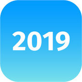 Year 2019 blue icon — Stock Photo