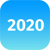 Year 2020 blue icon — Stock Photo