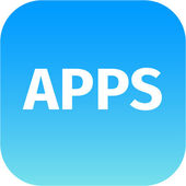 Blue icon with text apps — Stock Photo