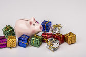 Pig money box between christmas gift — Stock Photo