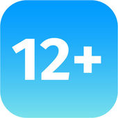 Restriction on age 12 plus - blue and white icon — 图库照片