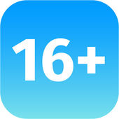 Restriction on age 16 plus - blue and white icon — Stock Photo