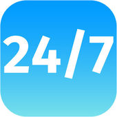 24 7 nonstop time blue icon — Stock Photo