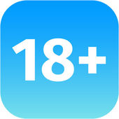 Restriction on age 18 plus - blue and white icon — Stock Photo