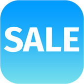 Blue text sale icon — Stock Photo