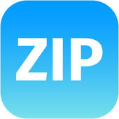 Archive zip blue icon for apps — Stock Photo