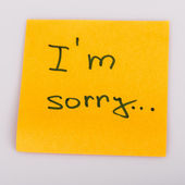 Sticky Note Message isolated on white - I am sorry — Stock Photo
