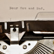 Text Dear Mom and Dad typed on old typewriter — Stock Photo #50317475