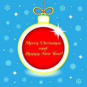 Christmas ball with greeting — Stock Vector