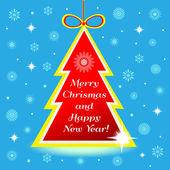 árbol de navidad con saludo — Vector de stock