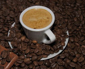 Caffè espresso e fagioli — Foto Stock