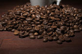 Coffee beans at close-up — Stock Photo