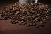 Kaffebönor i närbild — Stockfoto