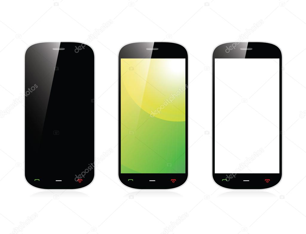 Isolated smartphone with three display variables vector ...