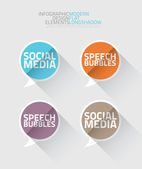 Sociální mediální bubliny dlouhý stín vektor — Stock vektor