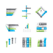 Big set of green and blue infographic option elements vector — Stock Vector