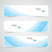 Three blue abstract waves background banner vector — Stock Vector