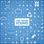 Set of 100 web, internet, office, computer and travel icons vector — Stock Vector