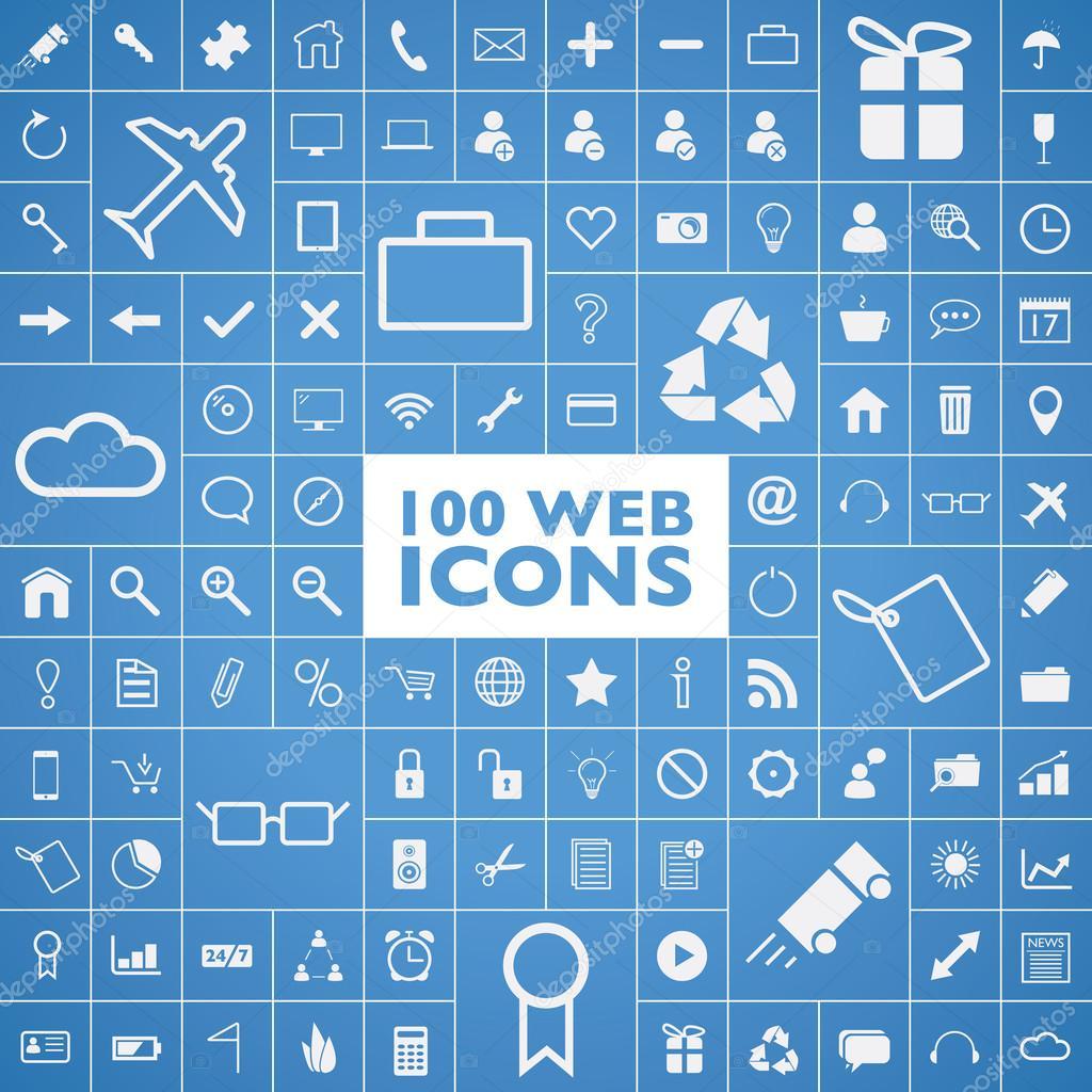 集100 网站, 互联网, 办公室, 计算机和旅行图标矢量