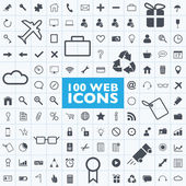 Set of 100 grey web, internet, office, computer, travel icon vectors with grid — Stock Vector