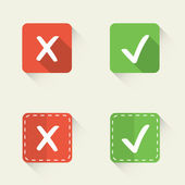 Right and wrong, yes and no vector check marks in flat style — Stock Vector